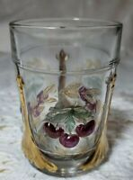 Vintage LG Wright Cherry & Wreath  Water Glass with Gold Tinting