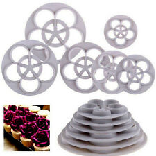 6Pcs Rose Flower Fondant Cake Paste Sugarcraft Decorating Cutters Baking Mold #T