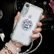 Sparkle Bling Diamonds Case 360 Ring Finger Holder Stand for iPhone X XR MAX 678