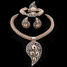 Gold Plated Water Drop with Thick Box Chain 4 pieces Jewelry Set