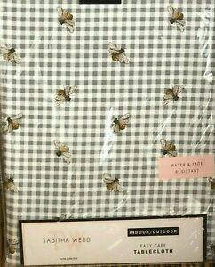 Tabitha Webb 60 x 84 Gray Gingham BEE Indoor Outdoor Tablecloth Easy Care