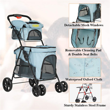 Folding Pet Stroller 4 Wheel Cat Dog Stroller Travel Carrier W/ Shock Absorption