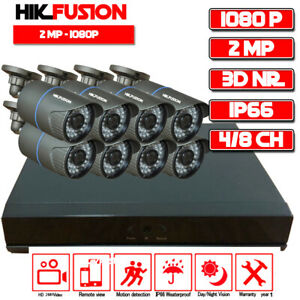 4/8 Channel 1080P 2MP Security Camera CCTV Surveillance Security System Full Kit
