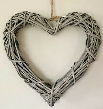 A large 30cm woven heart wreath natural rattan Complete with a chunky rope