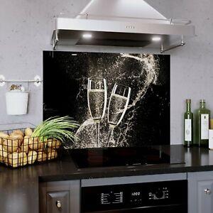 Glass Splashback Kitchen Panel Wine Champagne Splash 0336 900W x380H mm BESPOKE