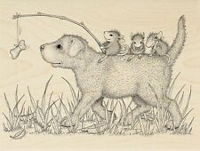 Dog Ride HOUSE MOUSE Wood Mounted Rubber Stamp STAMPENDOUS, New - HMR117