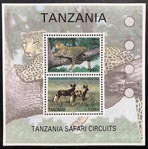 TANZANIA WILD ANIMALS STAMPS SHEET 2v 2005 MNH LEOPARD WILD ANIMALS WILD DOGS