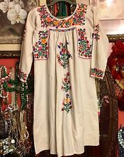Vintage Mexican Oaxacan 1970s Ivory Dress. Beautifully Hand Embroidered!