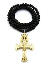 """NEW ANKH CROSS PENDANT &8mm/36"""" WOODEN BEAD CHAIN HIP HOP NECKLACE - RC1751"""
