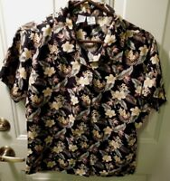 Ten 2 One Hawaiian SIZE M Women's Blouse Flower Print