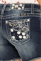 MISS ME Women's Frayed Hem Shorts Sexy Denim Jeans Floral Embroidery Blue