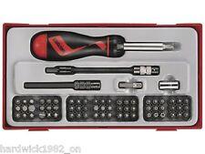 Teng Tools NUEVO ! destornillador carraca & Set de brocas con estuche 7 PIECES
