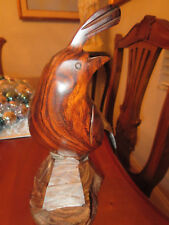 Vintage Hand Carved Solid  Wood Quail Bird 8""