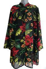 SUSAN GRAVER Women's Black Floral Hawaiian Sheer Cover-Up Tunic Top. Size Medium
