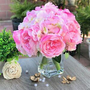 Artificial Mixed Peony Hydrangea Faux Flower Arrangement w Glass Vase Faux Water