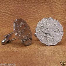 Bahamas Bone Fish Coin Cufflinks, Scalloped 10 cents Silver Tone Bahamian