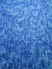 Blue florist designs, 100% Cotton Fabric Scrap Quilt Sew Craft