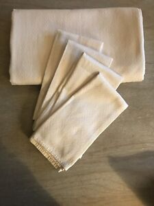 Ralph lauren Cream 140x210 Table Cloth & 4 Napkins Cream Herringbone VGC