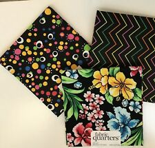 Three Bright Colored Prints  on Black- Set of 3 Fabric / Fat Quarters