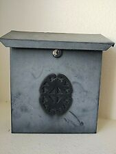 "Vintage Faded Black Metal Vertical Wall Mount Mailbox No Key 10"" x 8.5"" x 3"""