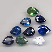3.5Ct. Natural Green Blue Sapphire Africa Pear Shape Attractive Heated 12 Pcs.