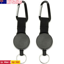 2 X Retractable Stainless Steel Keyring Pull Ring Key Chain Recoil Heavy Duty AU