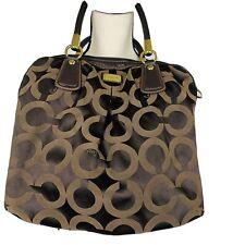 Coach Brown Fabric Signature Cloth Bag Purse