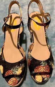 Joe Browns Pineapple Print Espadrille Wedge Sandals Wide Fit UK Size 6