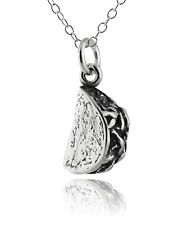 Taco Charm Necklace - 925 Sterling Silver - Tacos Mexican Food Chef Cook Gift