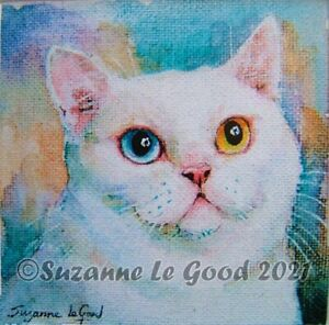 British Shorthair cat art print from original painting mounted Suzanne Le Good