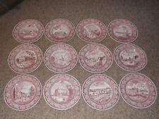 Wedgwood Pink Transferware 12 Old New York / World's Fair Dinner Plates