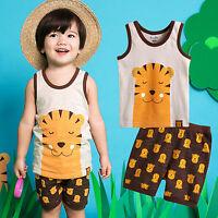 "NWT Vaenait Baby Kid Girls Boys Sleeveless Outfit Pajama set ""Cool Tiger"" 12M-7T"