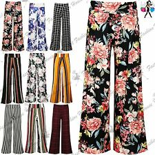Womens Floral Print Palazzo Trousers Ladies Wide Leg Flared Loose Pants Leggings