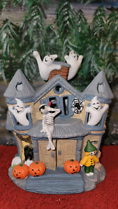 """PARTYLITE # P7311 """"HAUNTED TEALIGHT HOUSE"""" CANDLE HOLDER GHOSTS HALLOWEEN DECOR"""