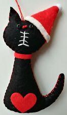 BLACK SANTA CAT felt Christmas tree decoration LOVE HEART NEW