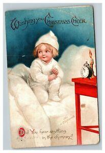 Vintage 1910's Ellen Clapsaddle Christmas Postcard Cute Child Bed Waiting Xmas