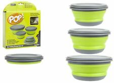 Summit Pop 3 Piece Bowl Set Lime and Grey Collapsible Travel Storage Camping