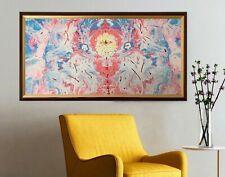 Leinwand Bild mit Bilderrahmen, Handmade Abstrakt Gemälde (52 x 97 cm)