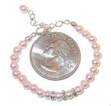 4mm ROSALINE PINK Pearl Bracelet NEWBORN BABY Sterling Silver Swarovski Elements