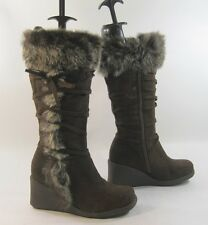 "New Brown  3"" high wedge heel  knee boots  Rabbit fur on the top  . Size   7 p"