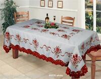 Holiday Christmas Embroidered Poinsettia Candle Bell Tablecloth Napkin White Red