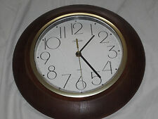 "Vtg 12"" Diameter Sunbeam Quartz Wall Clock Wood Frame 093-150347"