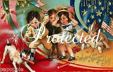 Vintage 4th of July Fabric Block Firecracker Postcard Image on Fabric Kids Dog