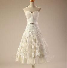 Short Vintage Lace Wedding Dress Bridal Gown Size 2 4 6 8 10 12 14 16 18 20 22+