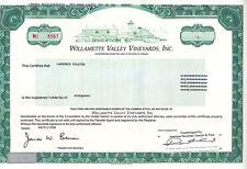 Willamette Valley Vineyards, Inc. OR 1999 Stock Certificate