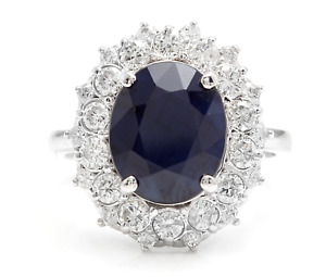 8.80Ct Natural Blue Sapphire & Diamond 14K White Solid Gold Ring
