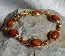 Vintage Sarah Coventry Faux Tortoise Shell Orange Stripe Mod Art Glass Bracelet