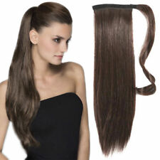 Real Natural Thick Clip In Human Hair Extensions Pony Tail Wrap On Ponytail 120g