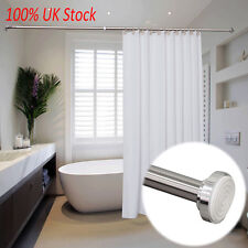 Telescopic Shower Curtain Rail Silver Extendable 125-220cm Rod Pole Rods Rails