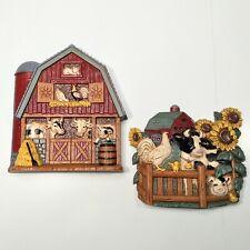 Home Interiors Vintage Barn Farm Animals Wall Hanging Plaques 3363-1 & 3363-2